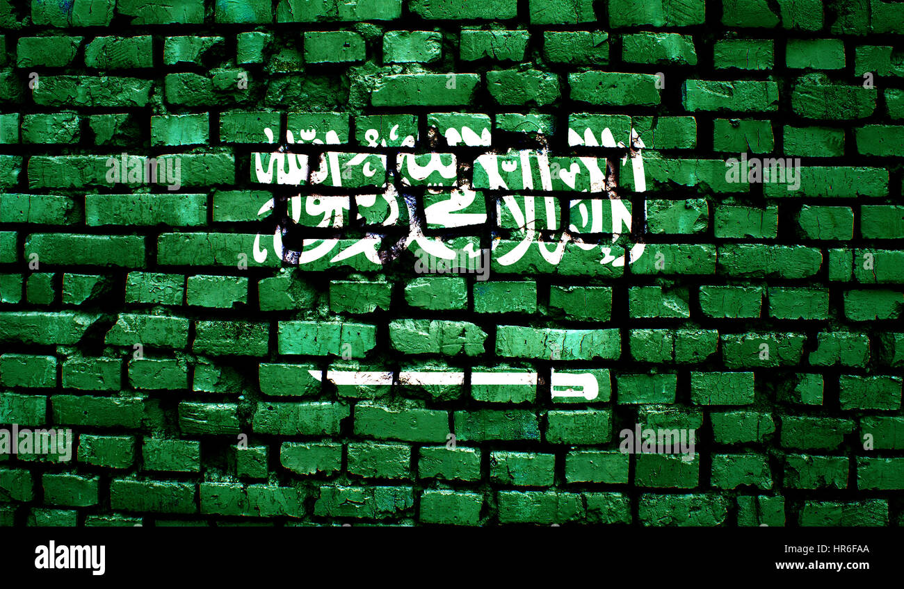 Saudi Arabia flag on old background retro effect, close up - Stock Image