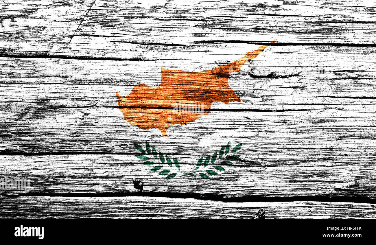 Cyprus flag on old background retro effect, close up - Stock Image