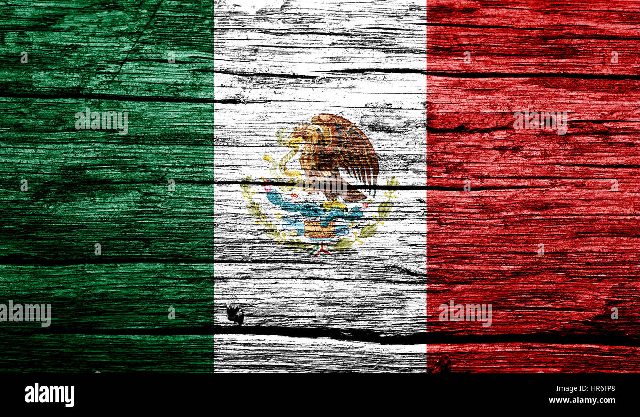 Mexico flag on old background retro effect, close up - Stock Image