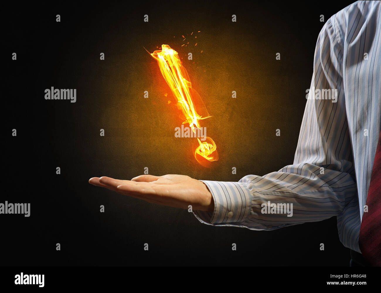 Fire exclamation mark - Stock Image