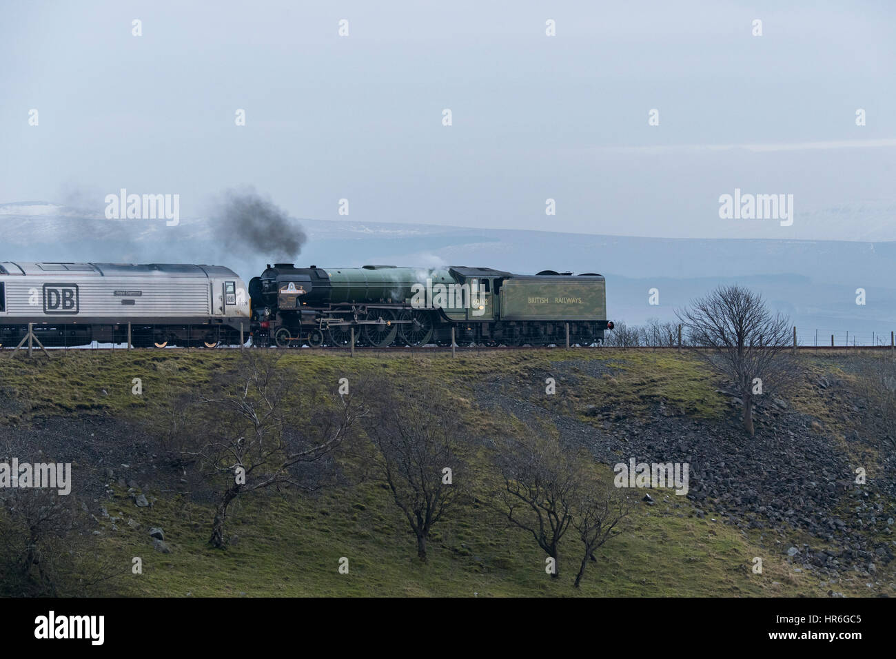 Puffing smoke, locomotive, No. 60163 Tornado, (brand new Peppercorn A1 Pacific) about to travel across the Ribblehead - Stock Image