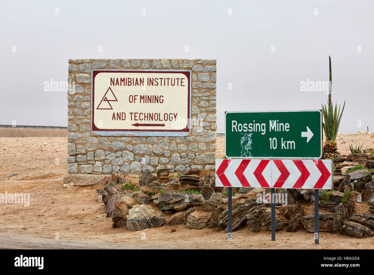 Namibian Institute of Mining and Technology sign, Arandis, Namibia, Africa - Stock Image