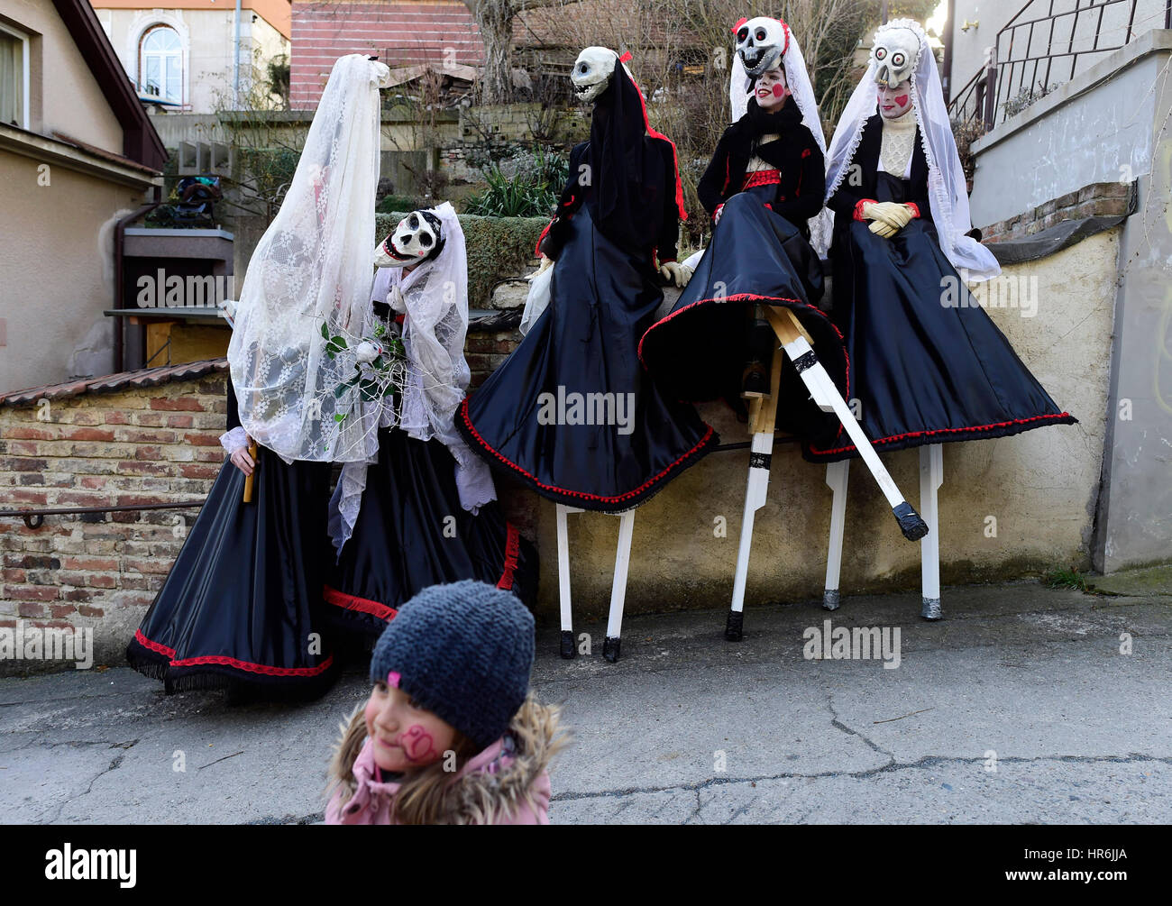 Roztoky, Czech Republic. 25th Feb, 2017. Shrovetide carnivals held all over the country, masks in Roztoky near Prague, - Stock Image