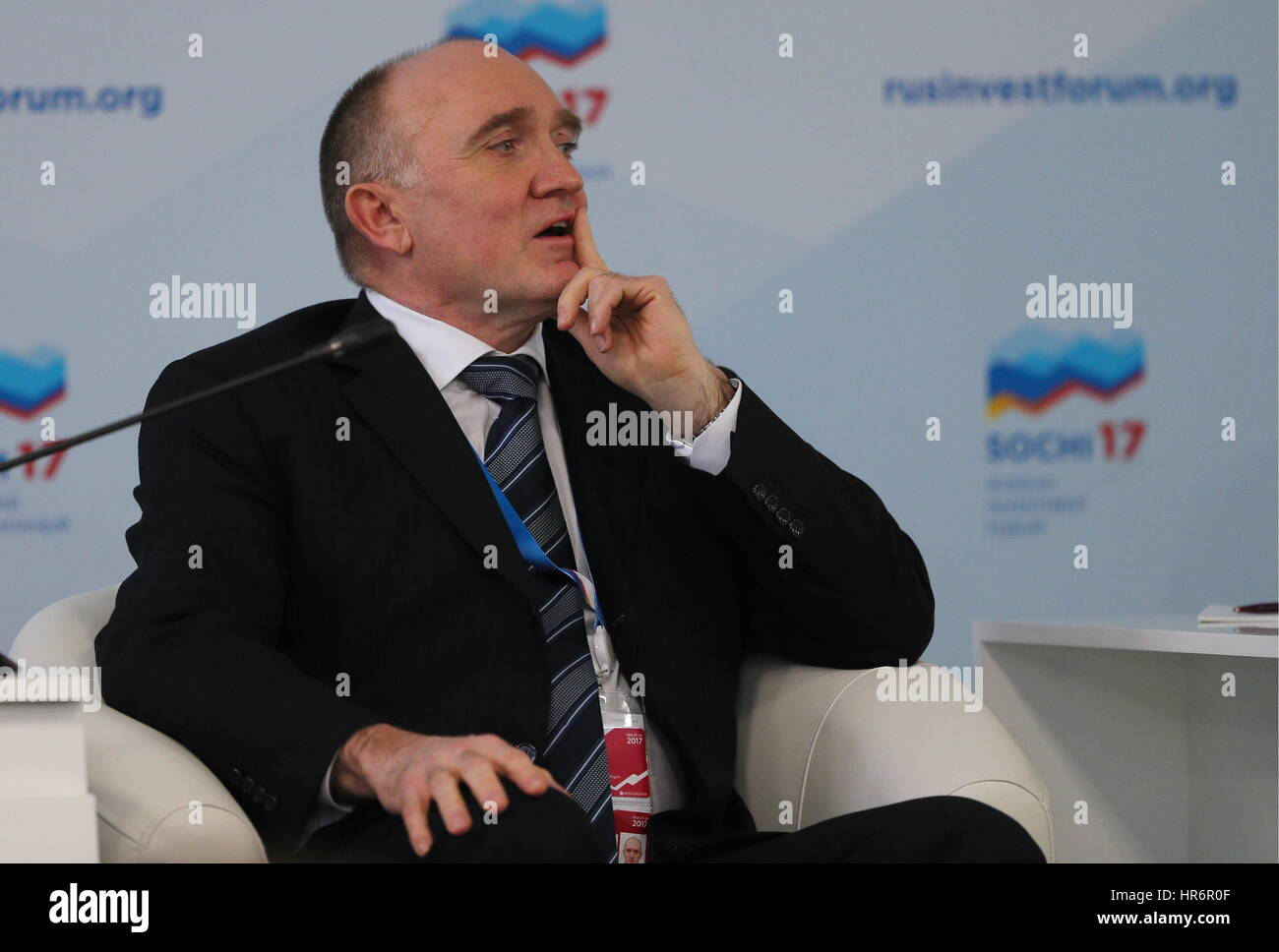 Sochi, Russia. 27th Feb, 2017. Chelyabinsk Region Governor Boris Dubrovsky at a panel session titled 'Green - Stock Image