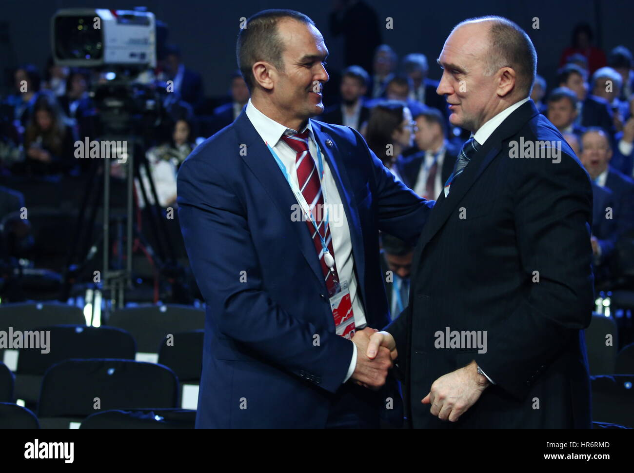 Sochi, Russia. 27th Feb, 2017. Mikhail Ignatyev (L), Head of the Republic of Chuvashia, and Chelyabinsk Region Governor - Stock Image