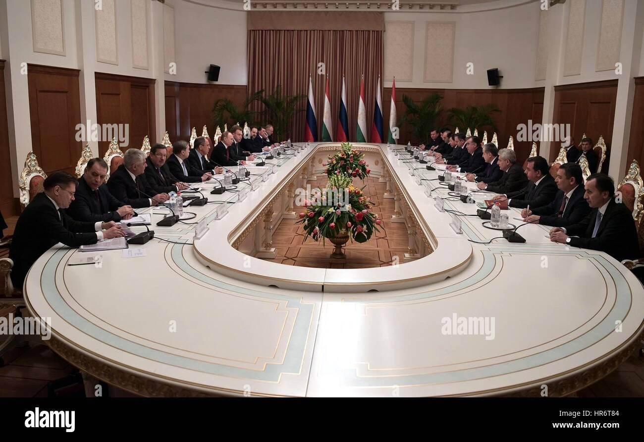 Dushanbe, Tajikistan. 27th Feb, 2017. Russian President Vladimir Putin and delegation meet with Tajik President - Stock Image