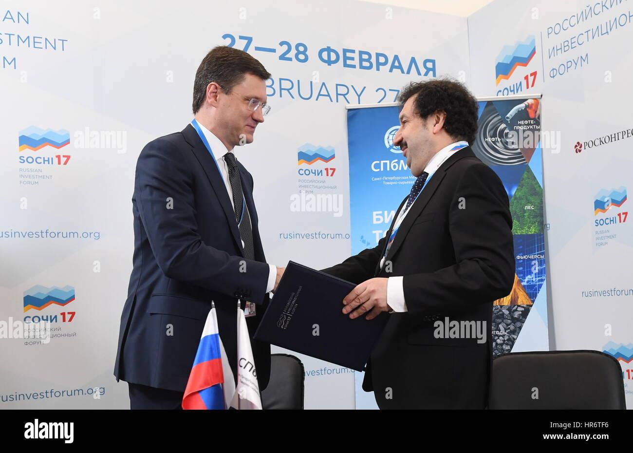 Alexander Mau sochi, russia. 27th feb, 2017. russia's energy minister