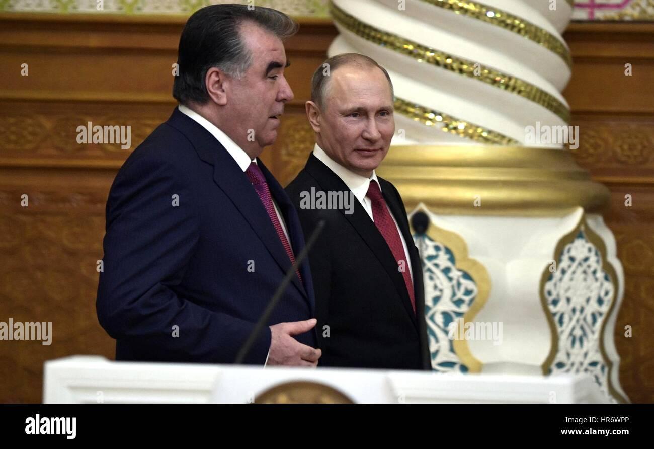 Dushanbe, Tajikistan. 27th Feb, 2017. Tajik President Emomali Rahmon with Russian President Vladimir Putin at a - Stock Image