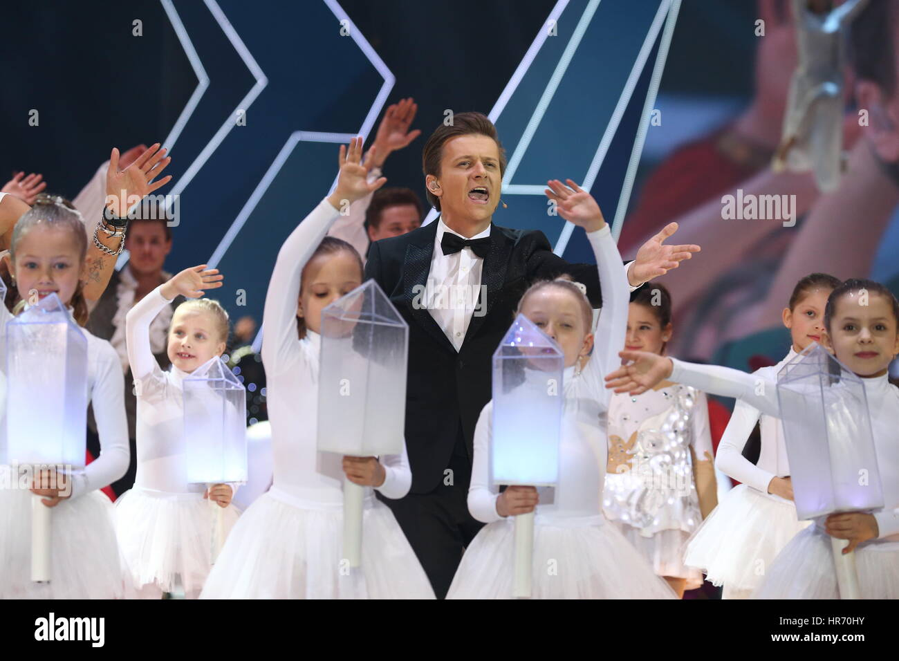 Sochi, Russia. 27th Feb, 2017. Singer Gleb Matveichuk performs at a ceremony to close the 3rd CISM World Winter - Stock Image