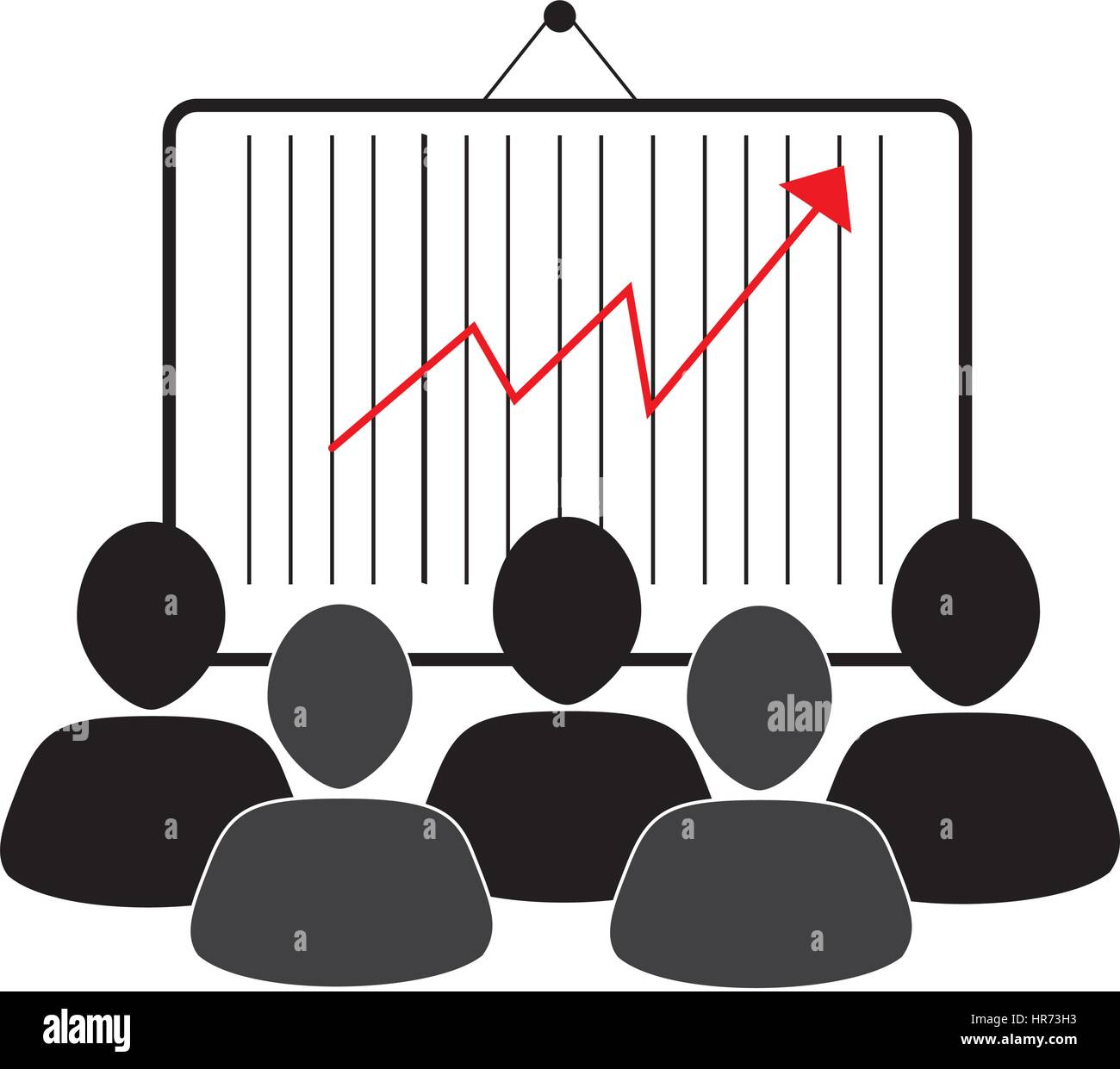 group of people and economic growth indicator table - Stock Image