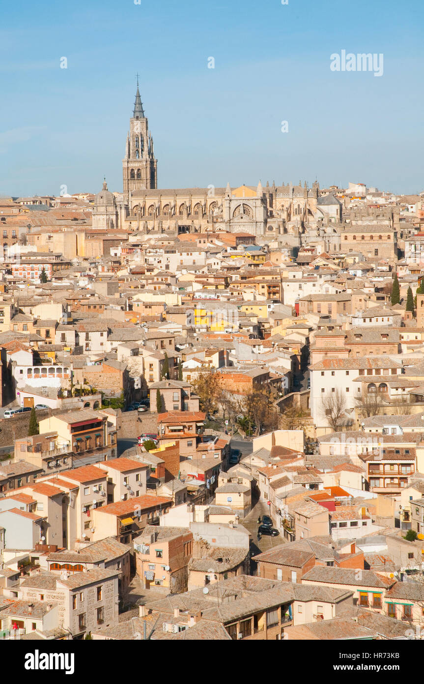 Cathedral and city. Toledo, Castilla La Mancha, Spain. - Stock Image