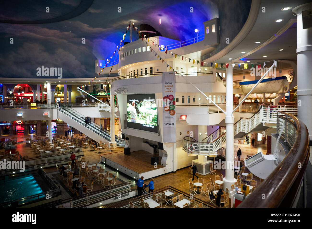 Food hall  inside interior of Great Hall Orient,  Intu Trafford Centre t at shopping mall centre complex Dunplington, - Stock Image