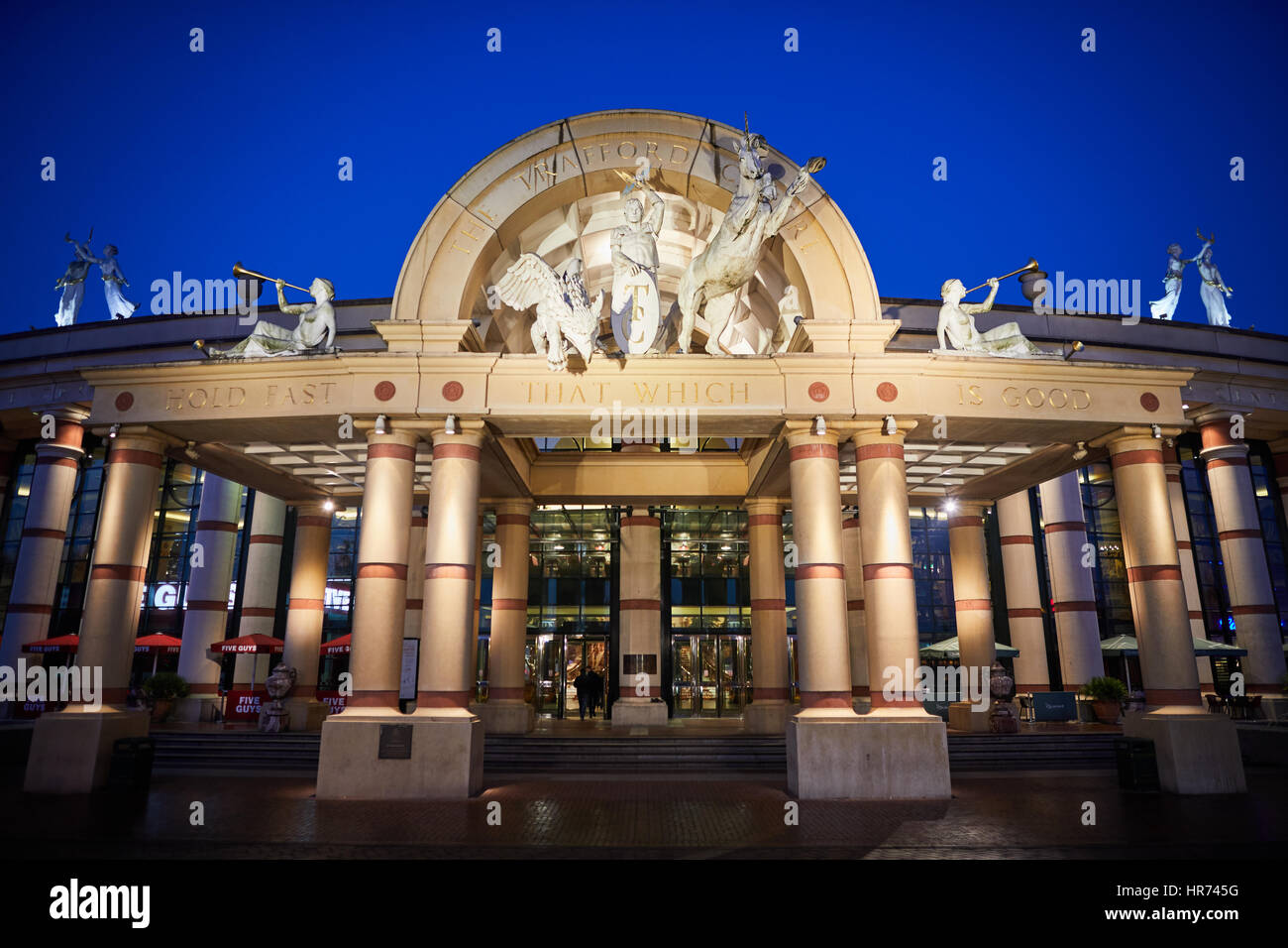 Exterior grand entrance for  Intu Great Hall Orient, Trafford Centre at shopping mall centre complex Dunplington, - Stock Image