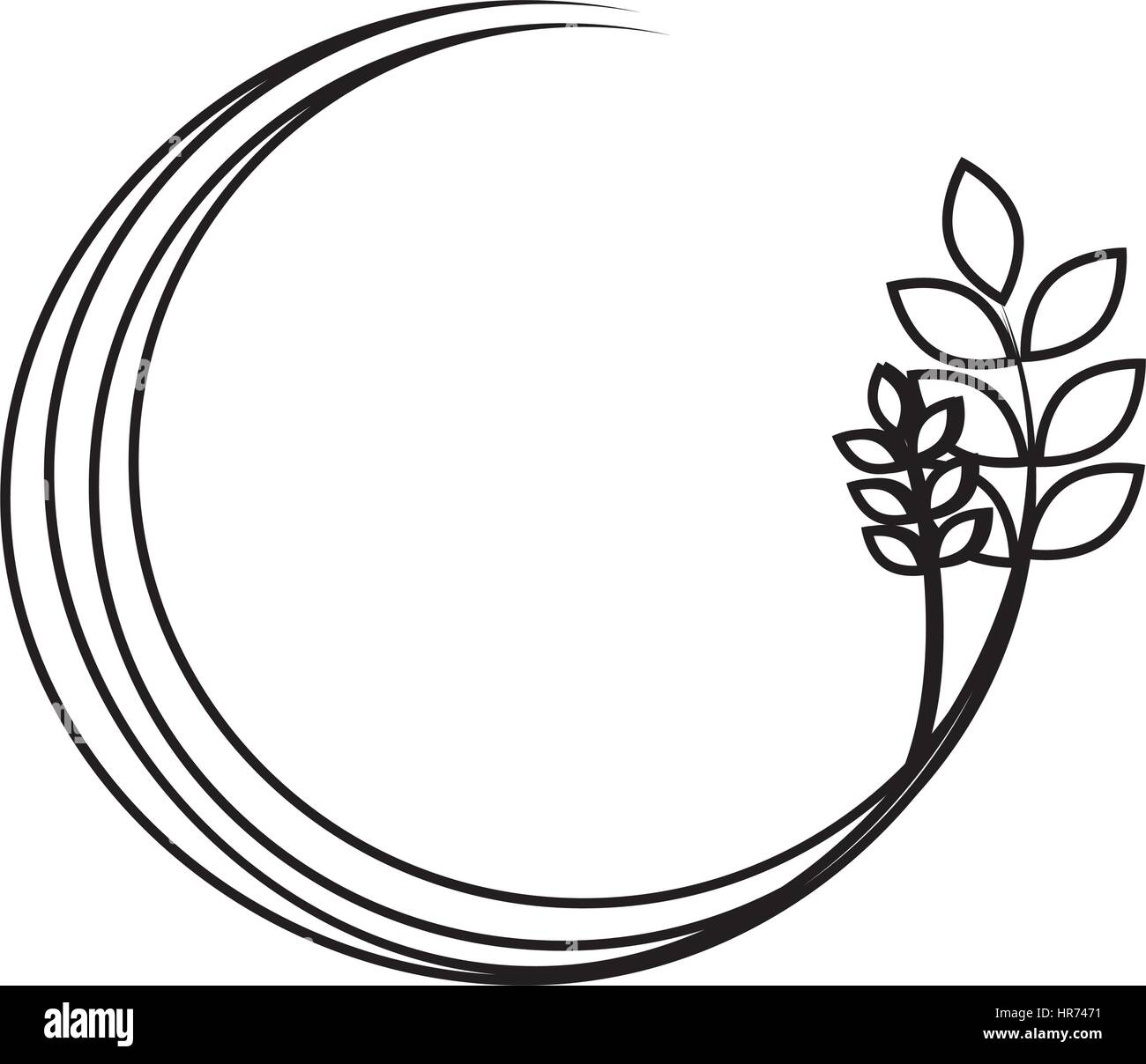 silhouette medium circular border with branch and leaves
