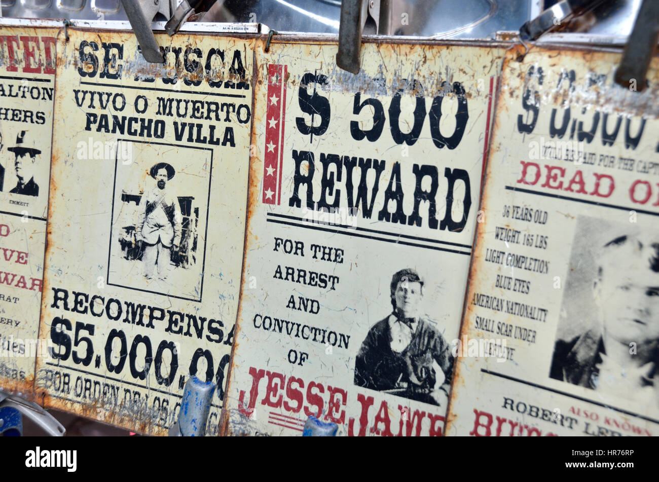 Bounty reward signs from the wild west. - Stock Image