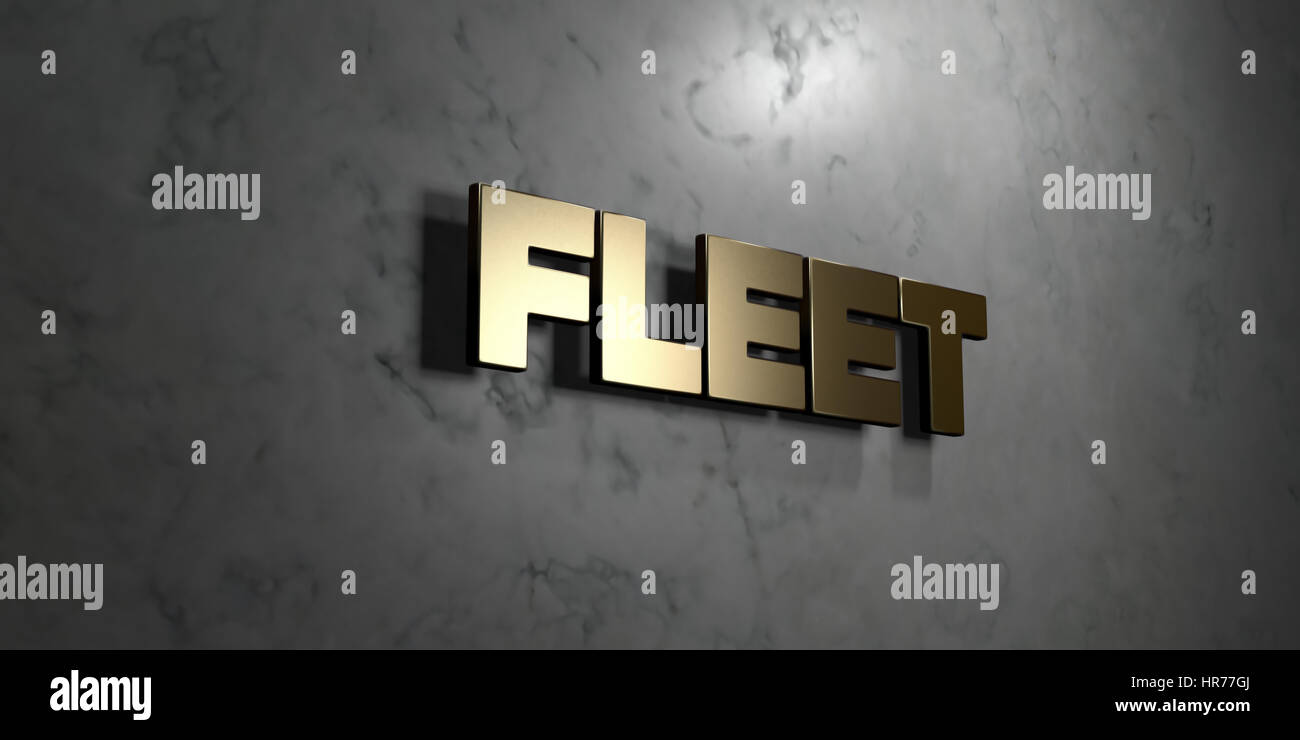 Fleet - Gold sign mounted on glossy marble wall  - 3D rendered royalty free stock illustration. This image can be - Stock Image