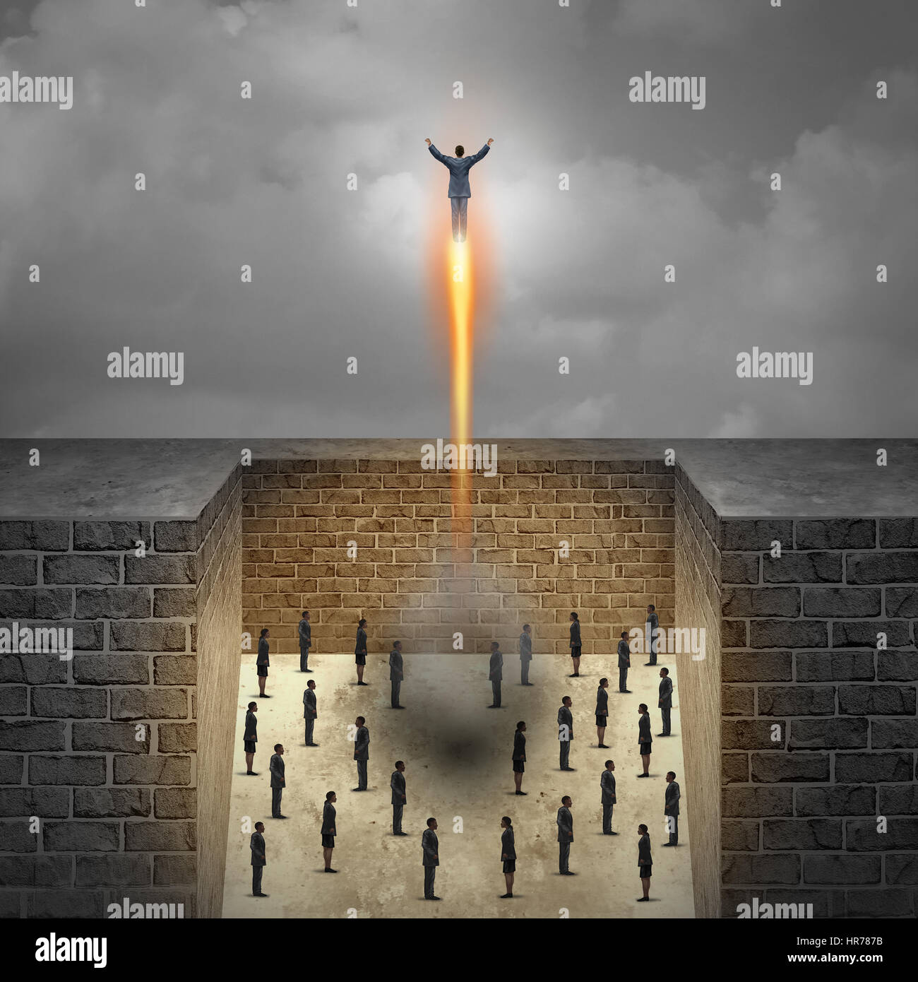 Career boost business concept as a businessman taking off as a rocket from a group of company workers trapped in - Stock Image