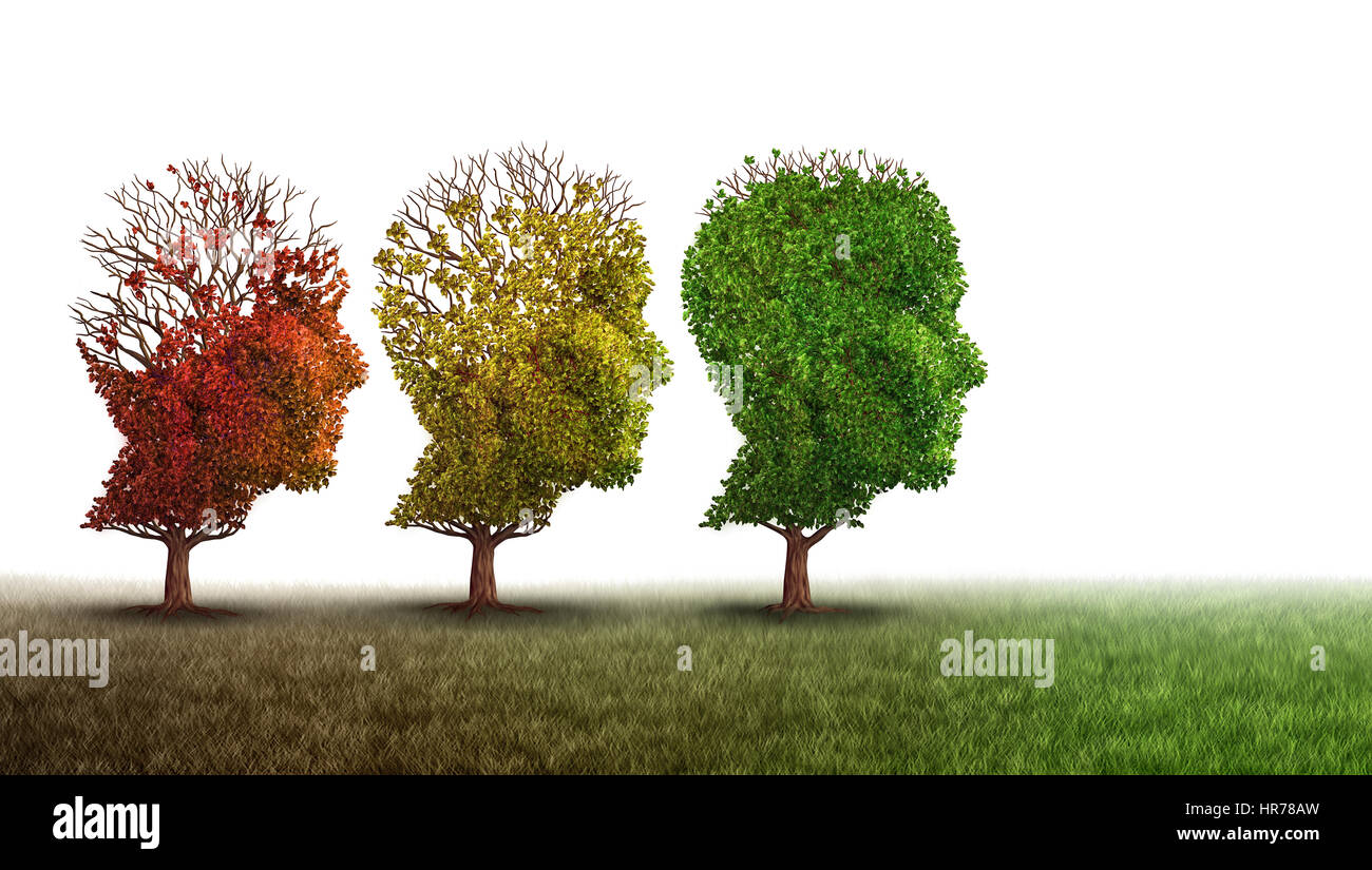 Dementia and mental health recovery treatment and Alzheimer brain memory disease therapy concept as old trees recovering - Stock Image