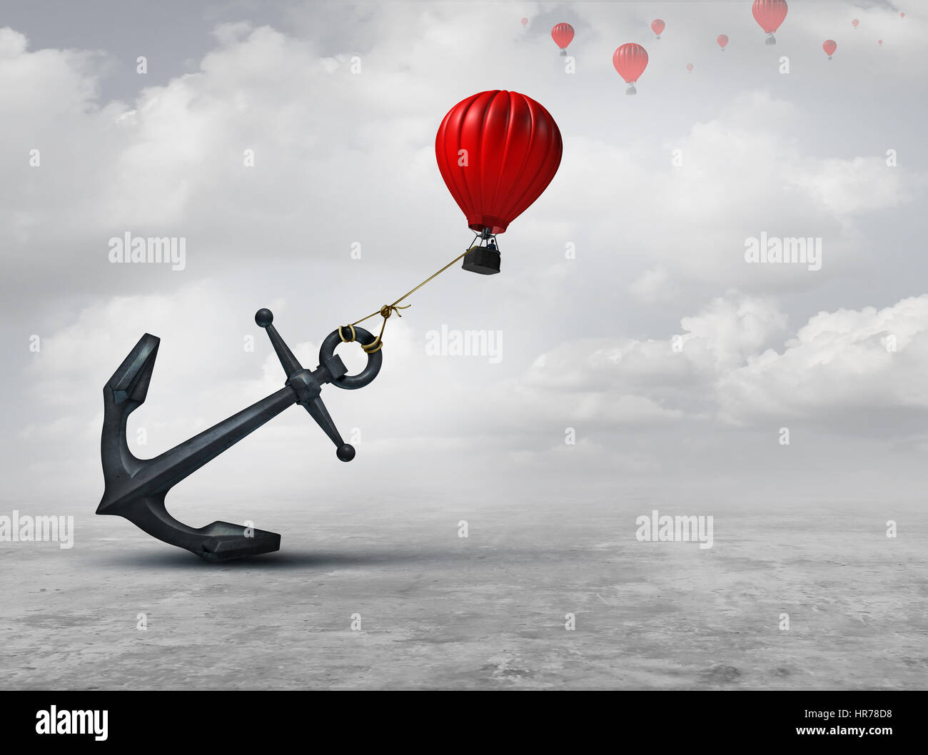 Held back metaphor as a large anchor holding or oppressing an air balloon and restricting movement as a suppression - Stock Image
