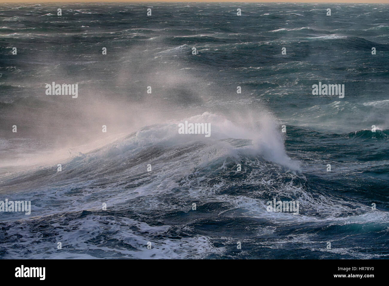 Global climate change. Next hurricane in ocean: wind raises enormous waves and floods mainland - Stock Image