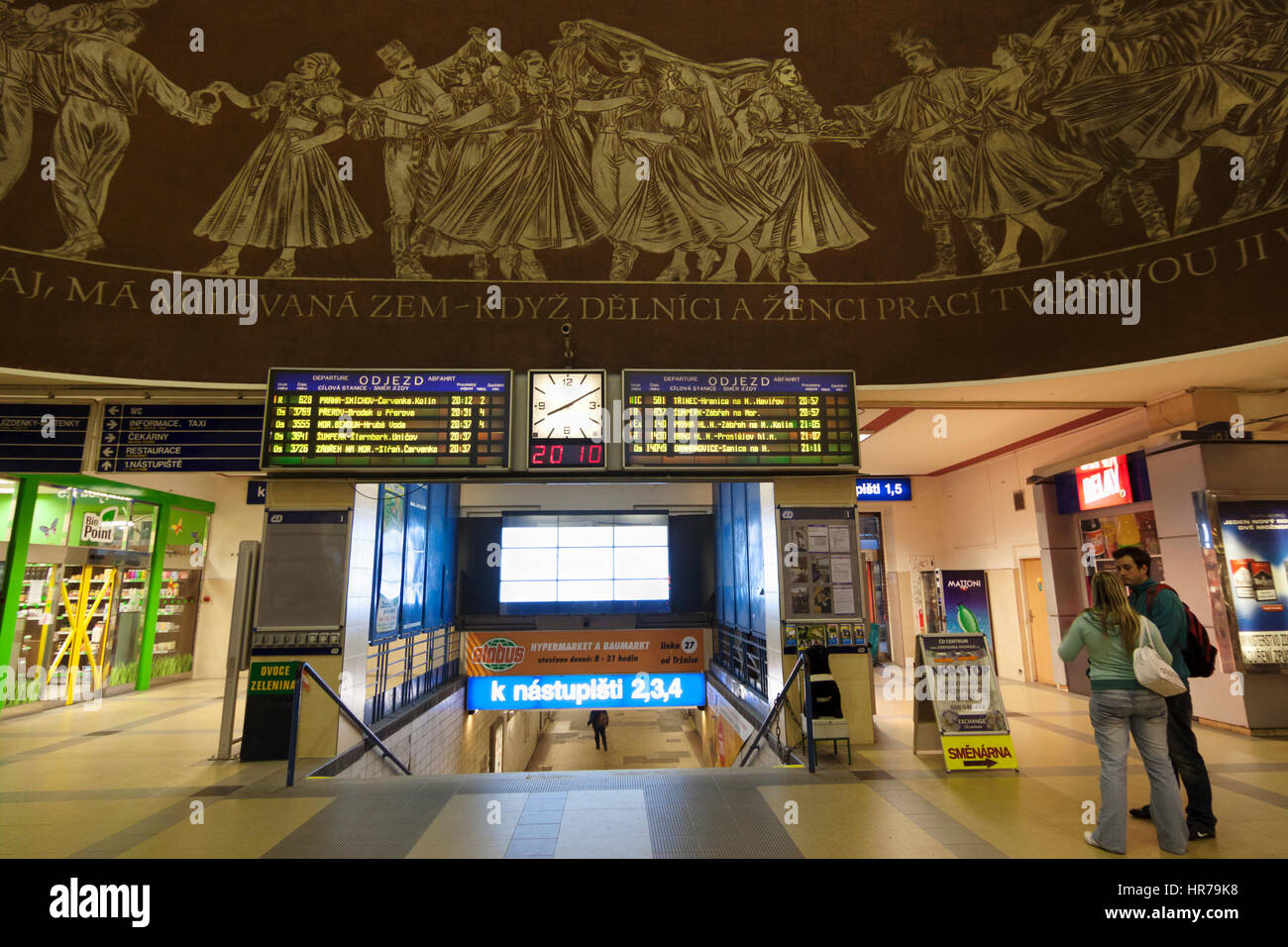 Old socialist mural at the train station of Olomouc, Moravia, Czech Republic - Stock Image