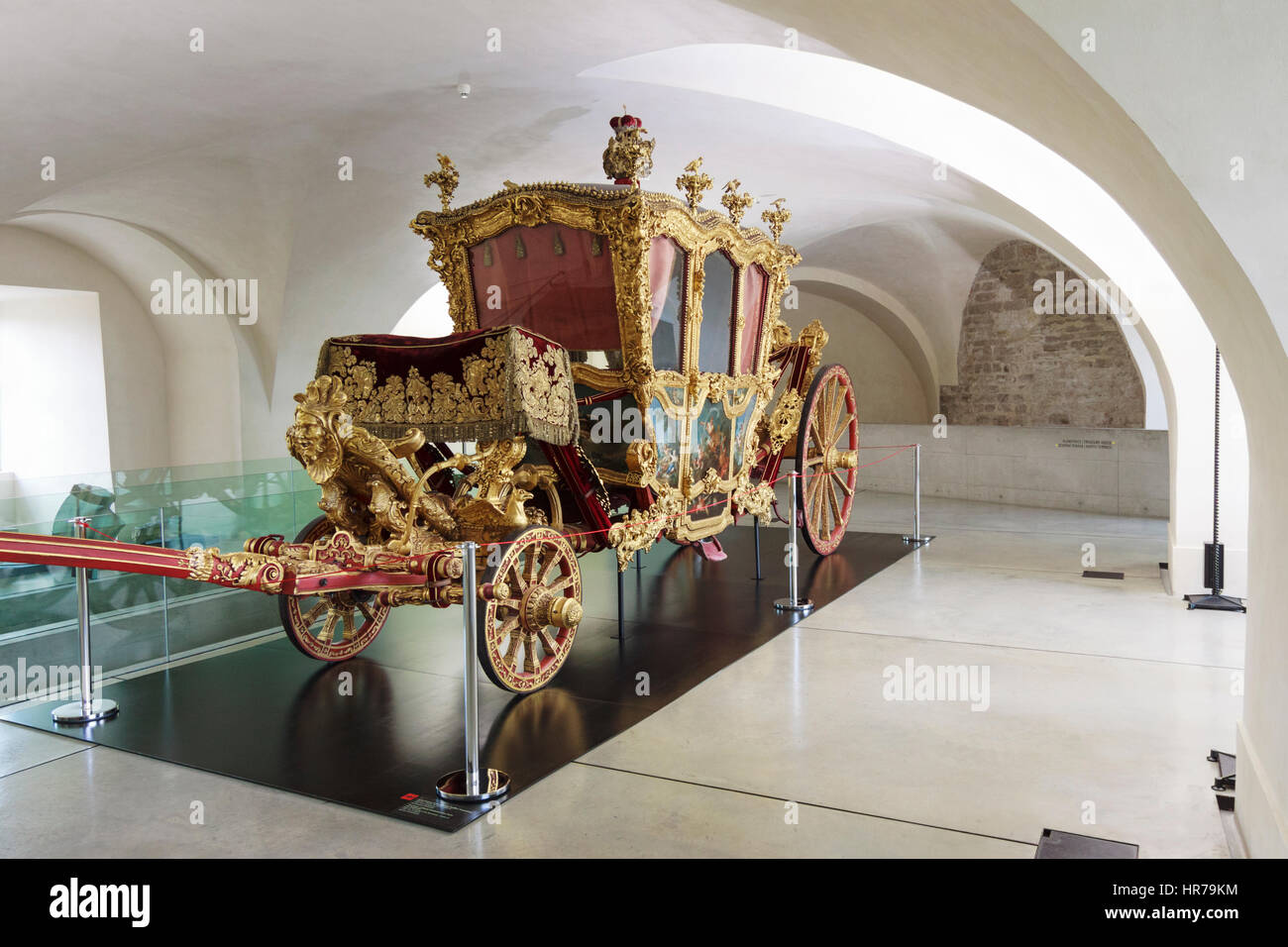 18th century Troyer Coach at Premysl Palace Archdiocesan Museum, Olomouc, Moravia, Czech Republic Stock Photo