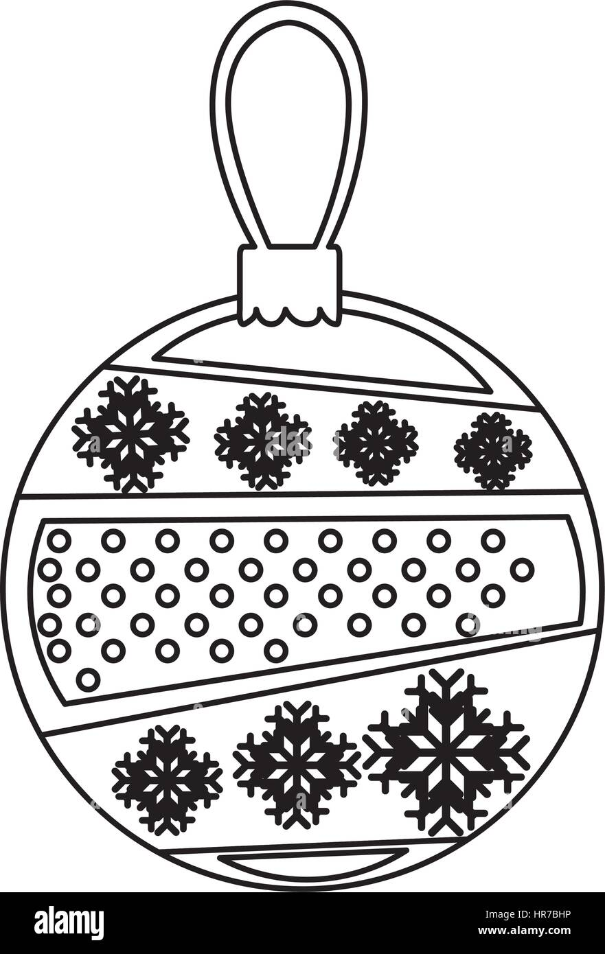 contour christmas balls with shapes inside - Stock Image