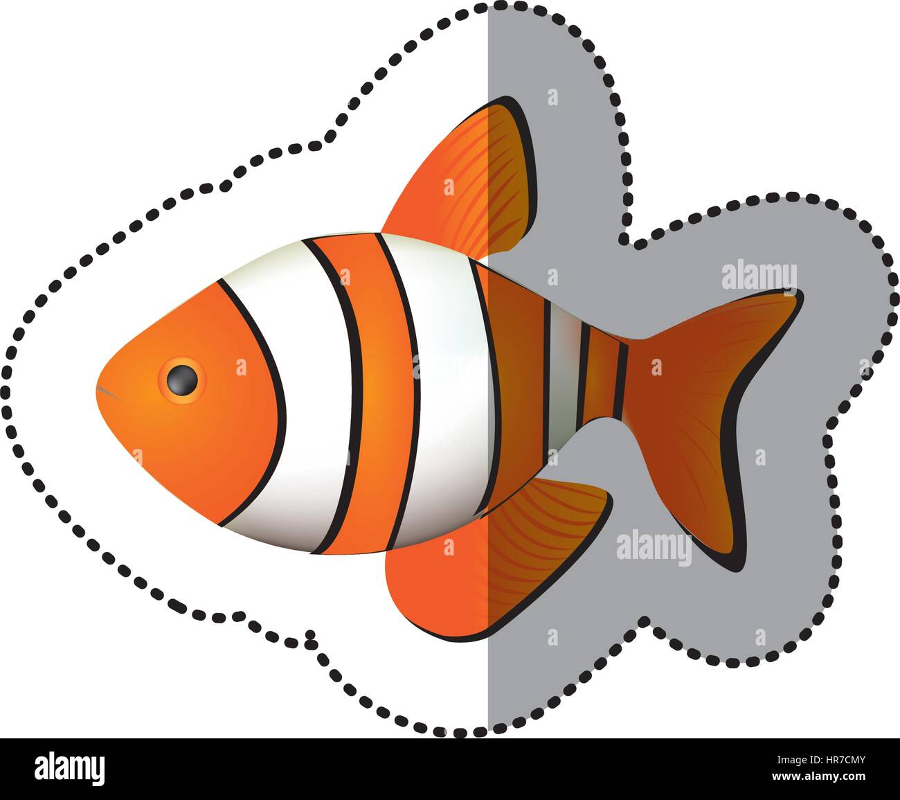 sticker colorful picture clownfish acuatic animal - Stock Vector
