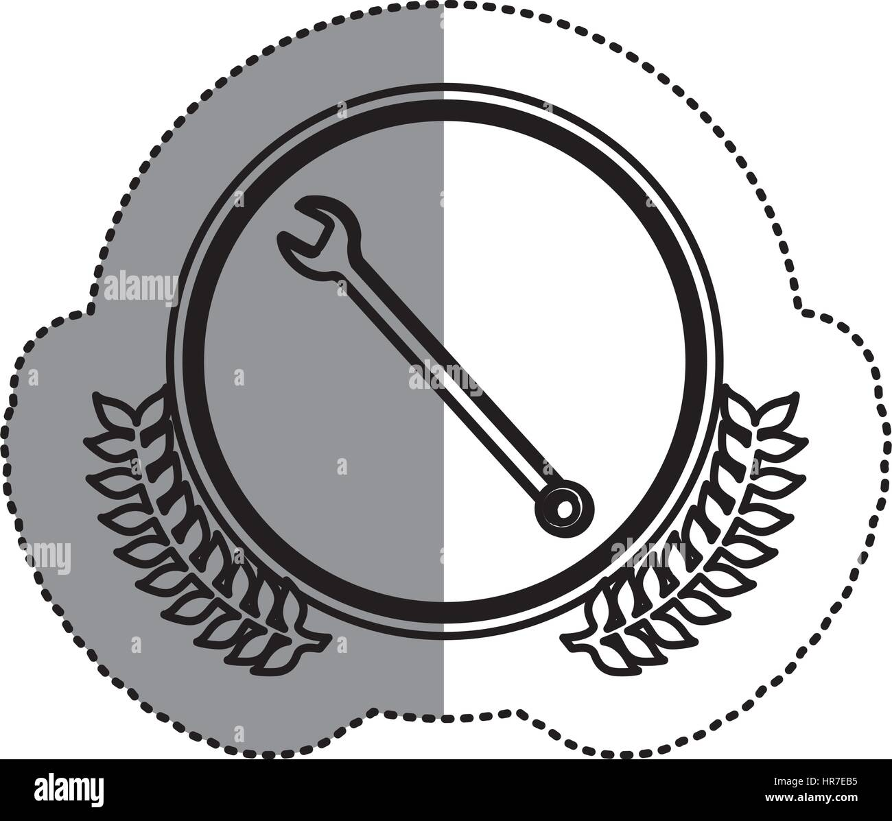 contour symbol wrench icon image - Stock Vector