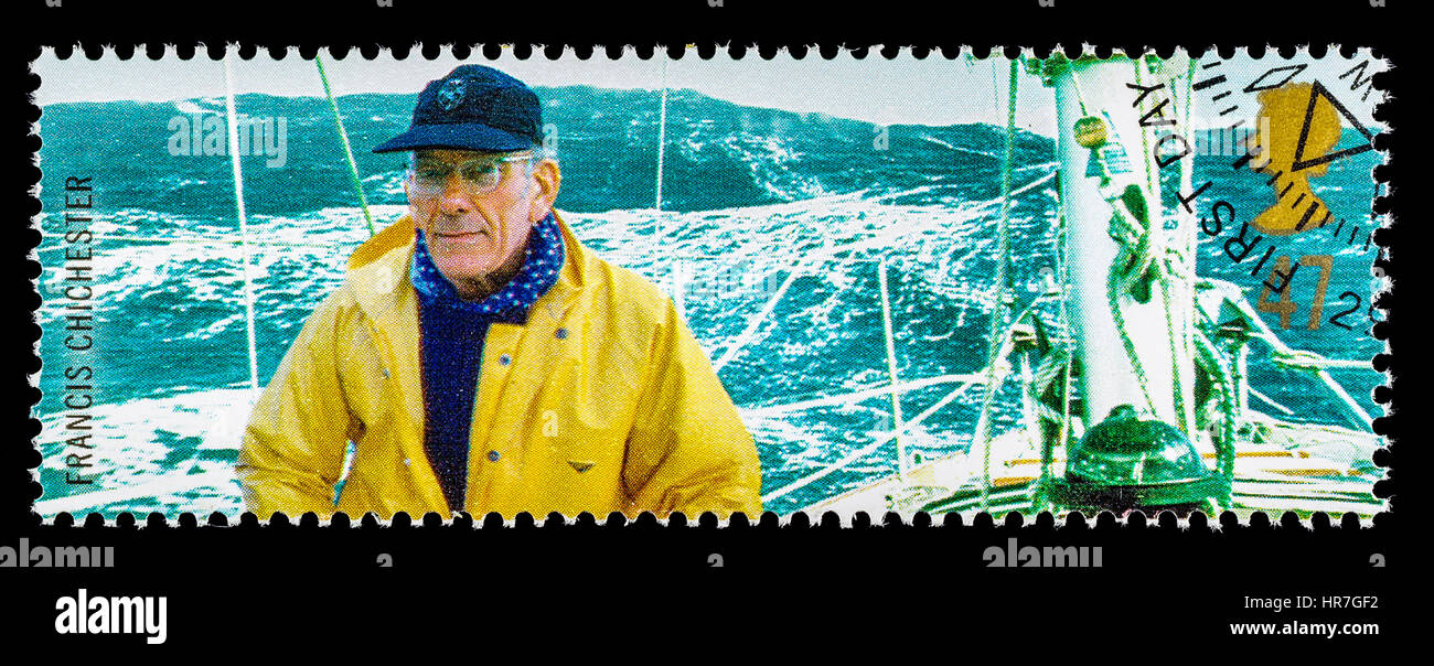 UNITED KINGDOM - CIRCA 2003: A used postage stamp printed in Britain celebrating British Explorers showing Yachtsman - Stock Image