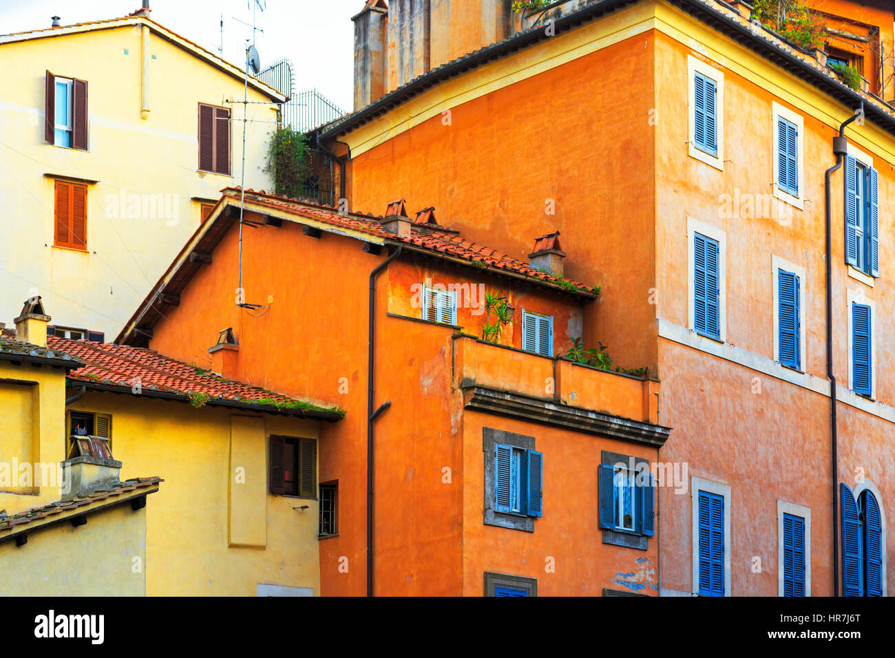 Colourful house detail in residential area of Rome, Italy - Stock Image