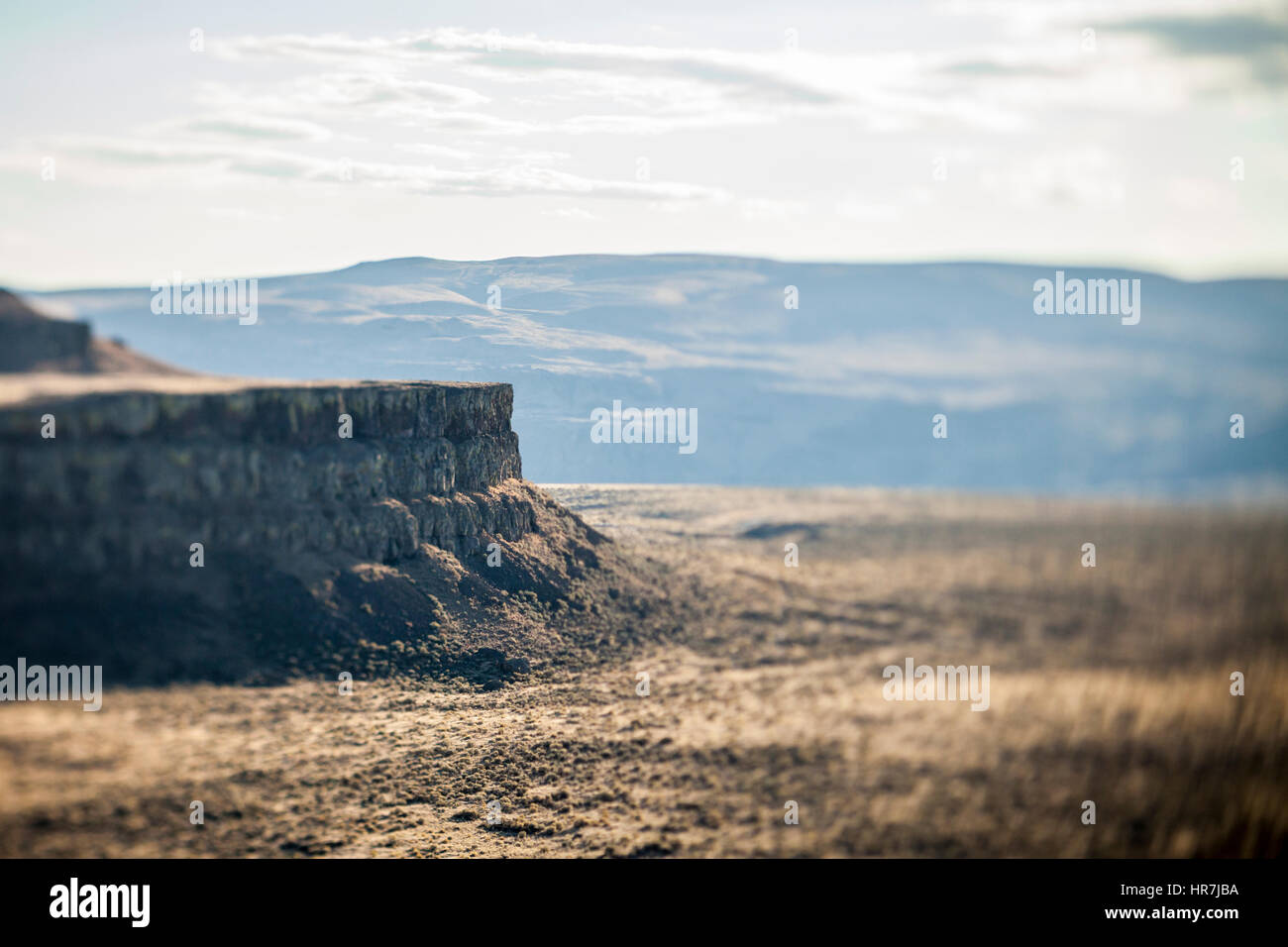 A rocky outcropping in Eastern Washington near Vantage at a place called Echo Basin / Frenchman's Coulee, USA. - Stock Image
