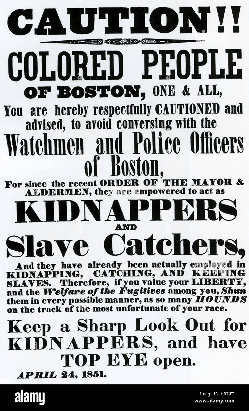 AMERICAN FUGITIVE SLAVE LAW 1850.    Poster printed in Boston dated 24 April 1851 Stock Photo