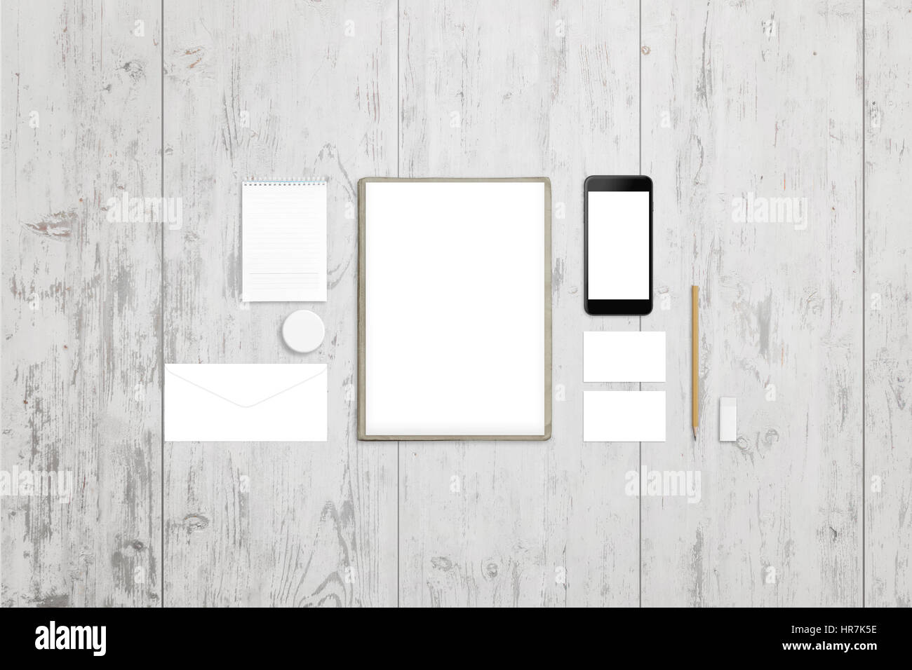 Clean paper, pad, envelope, badge, business card and mobile phone