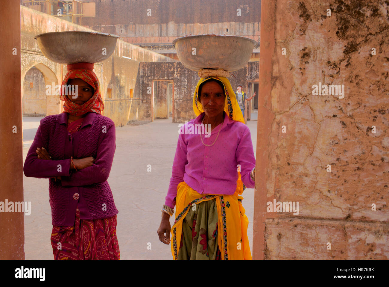 Women Labourers at Amber Fort, Jaipur, India - Stock Image