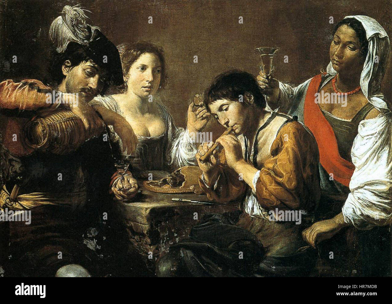 Valentin de Boulogne, Musician and Drinkers - Stock Image