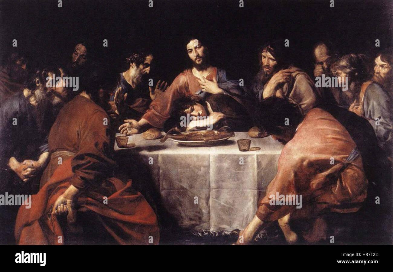 Valentin de Boulogne - The Last Supper - WGA24244 - Stock Image