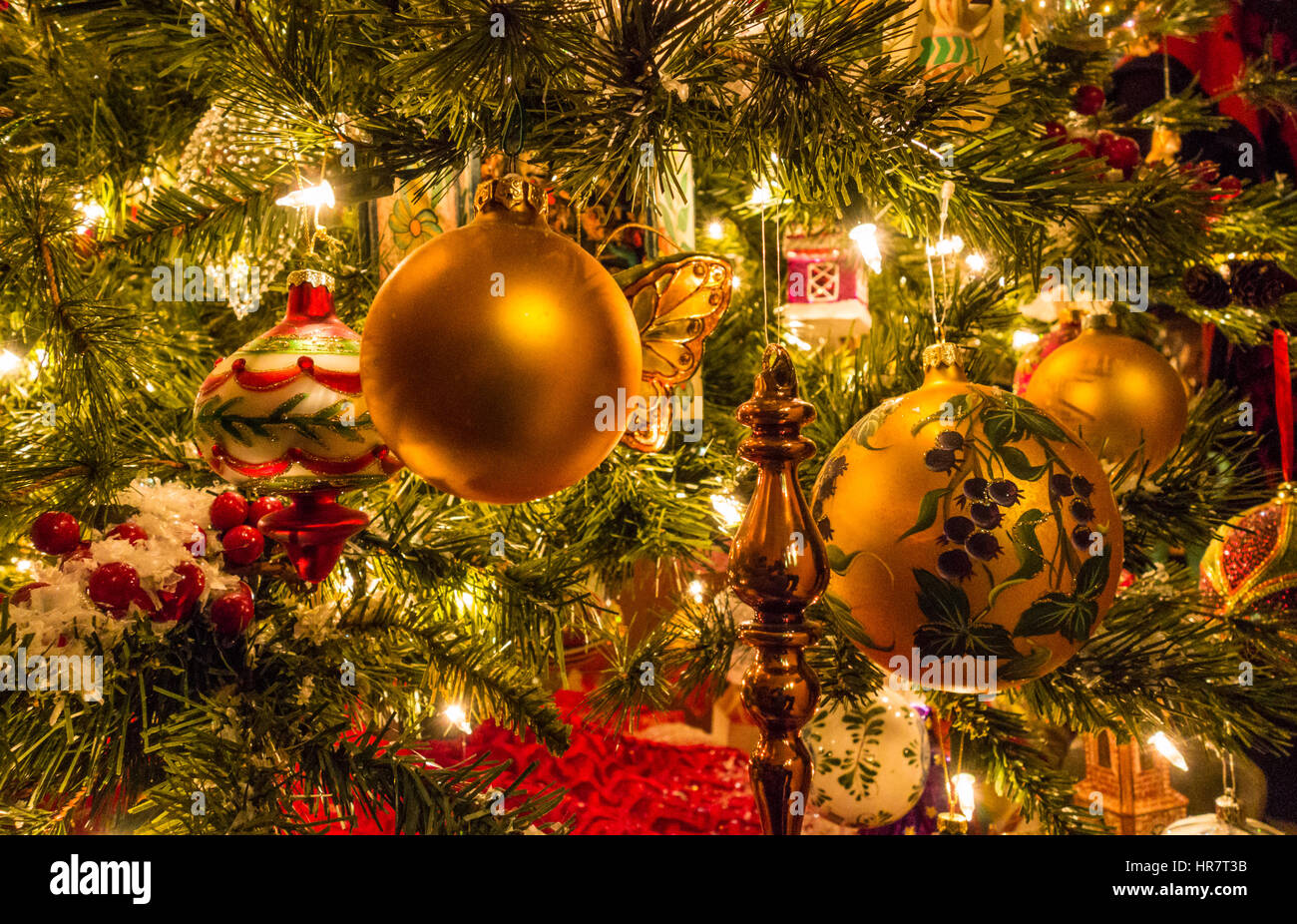 Christmas decorations on a tree. Stock Photo