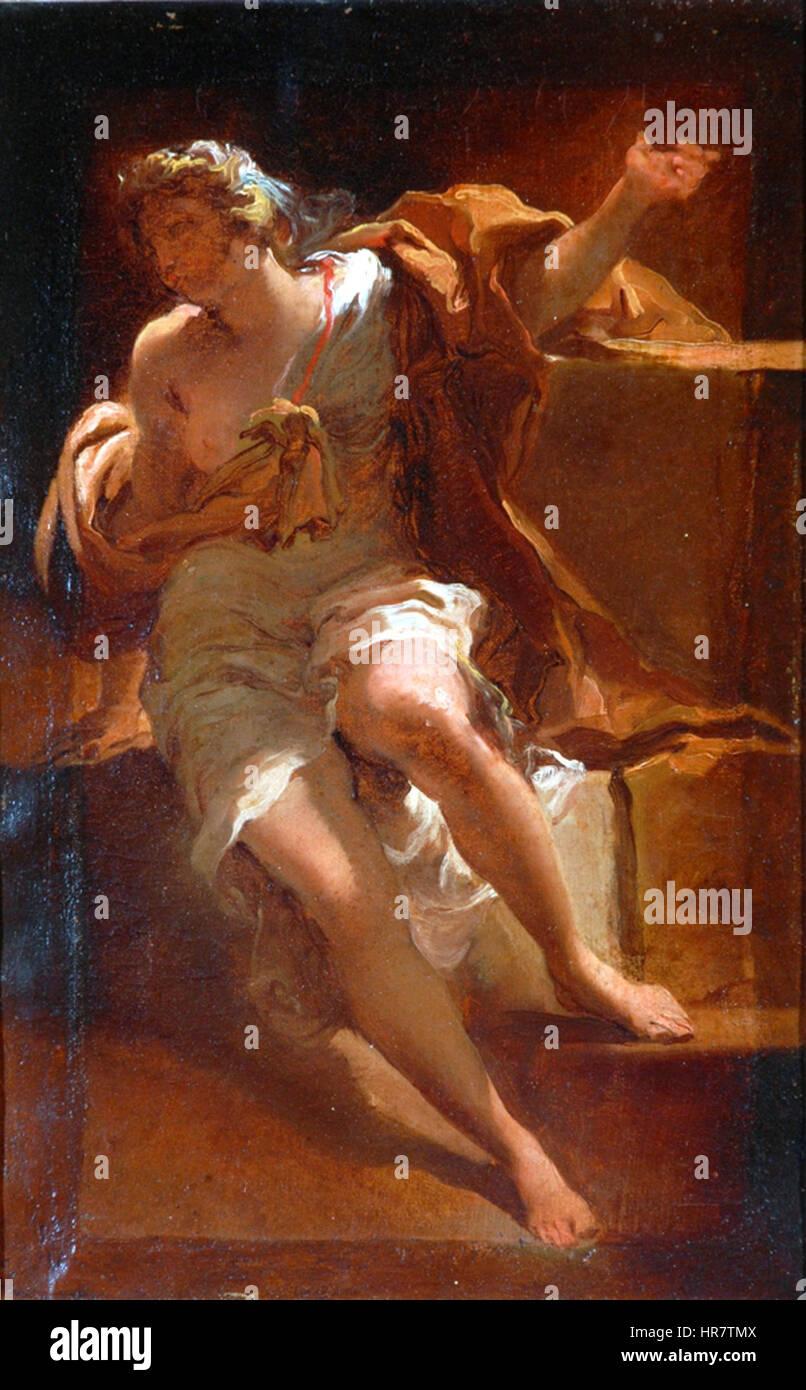 Study Of A Female Figure Oil On Paper Painting By Gaetano Gandolfi