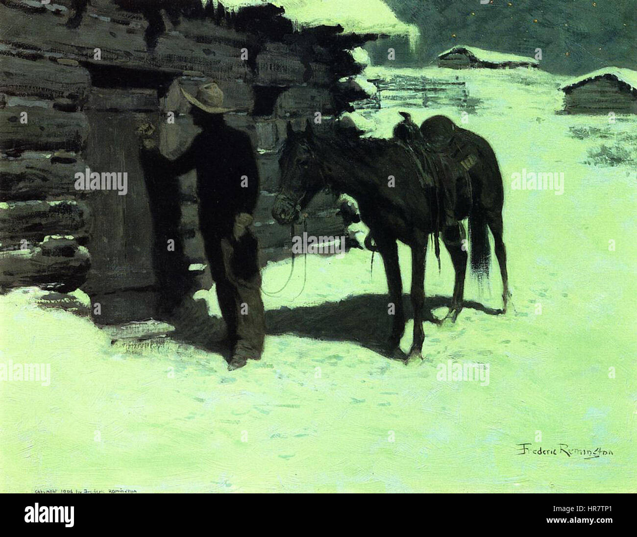 The Belated Traveler Frederic Remington - Stock Image