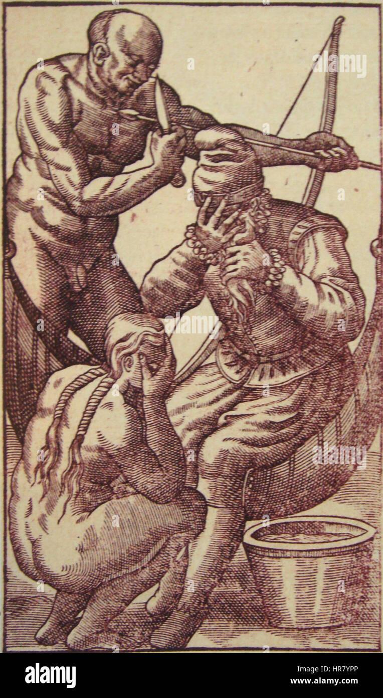 Tearful salutations in Histoire d un voyage fait au Bresil 1580 - Stock Image