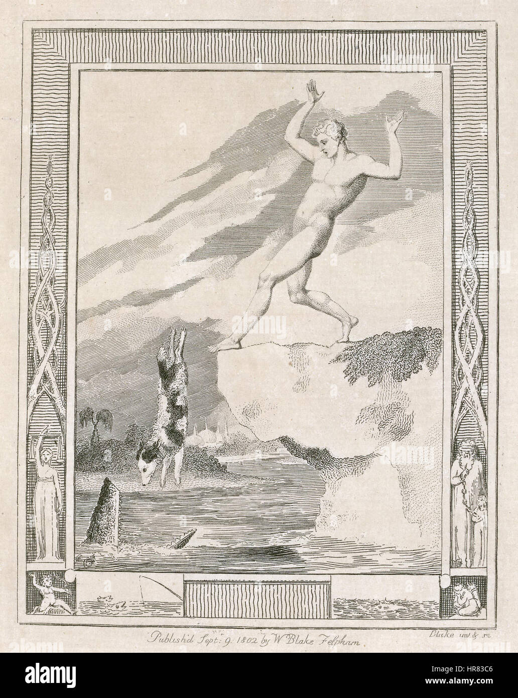 William Blake for Hayley, Designs to a Series of Ballads, copy 1, object 12 Frontispiece to The Dog, Ballad the - Stock Image