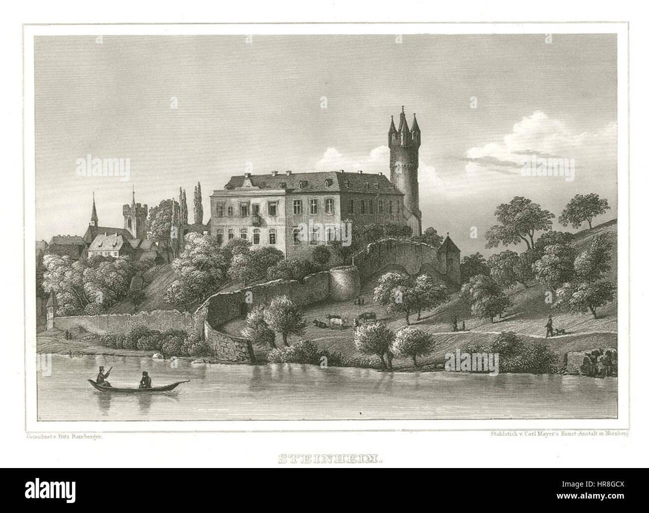 Steinheim Stahlstich 1847 - Stock Image
