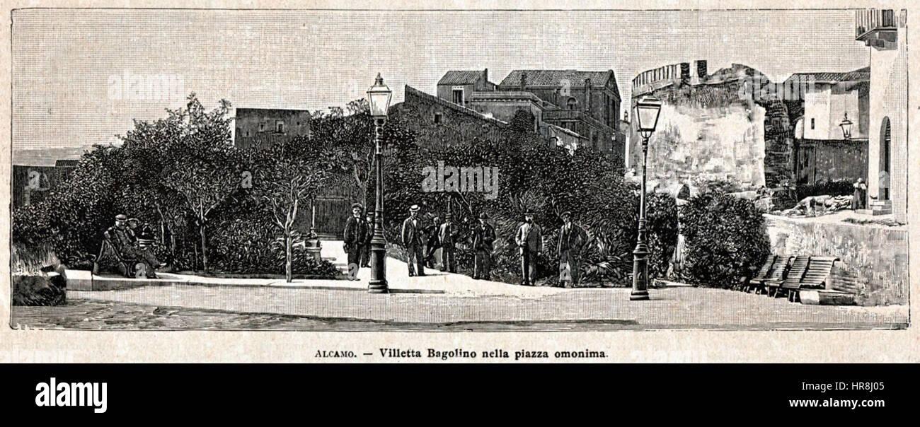 Villetta Bagolino (stampa antica del 1900) - Stock Image