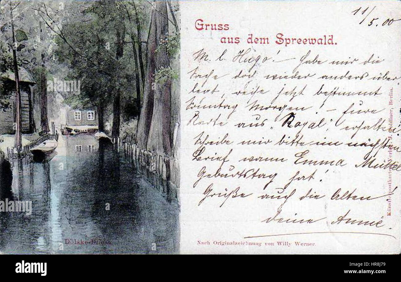 Spreewald, Postkarte, 1900d - Stock Image