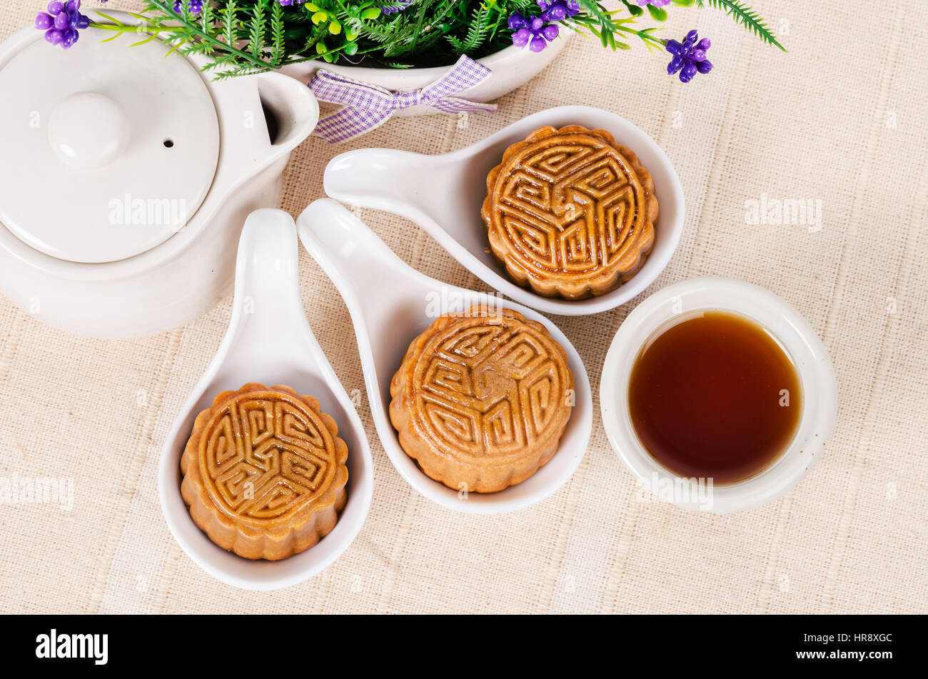 Chinese mid autumn festival foods. Traditional mooncakes on table setting with teapot. : traditional chinese table setting - Pezcame.Com