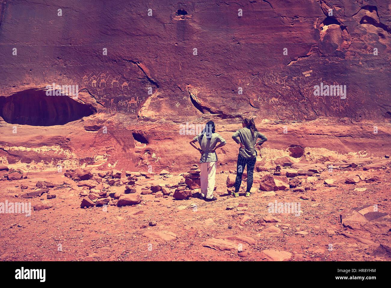 Rock Paintings, Wadi Rum, Arabian Desert, Jordan - Stock Image