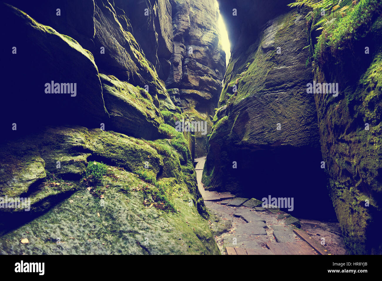 Fantastic view of the green canyon Siberia. Teplice-Adrspach Rock Town. Czech Republic. Artistic picture. Beauty - Stock Image