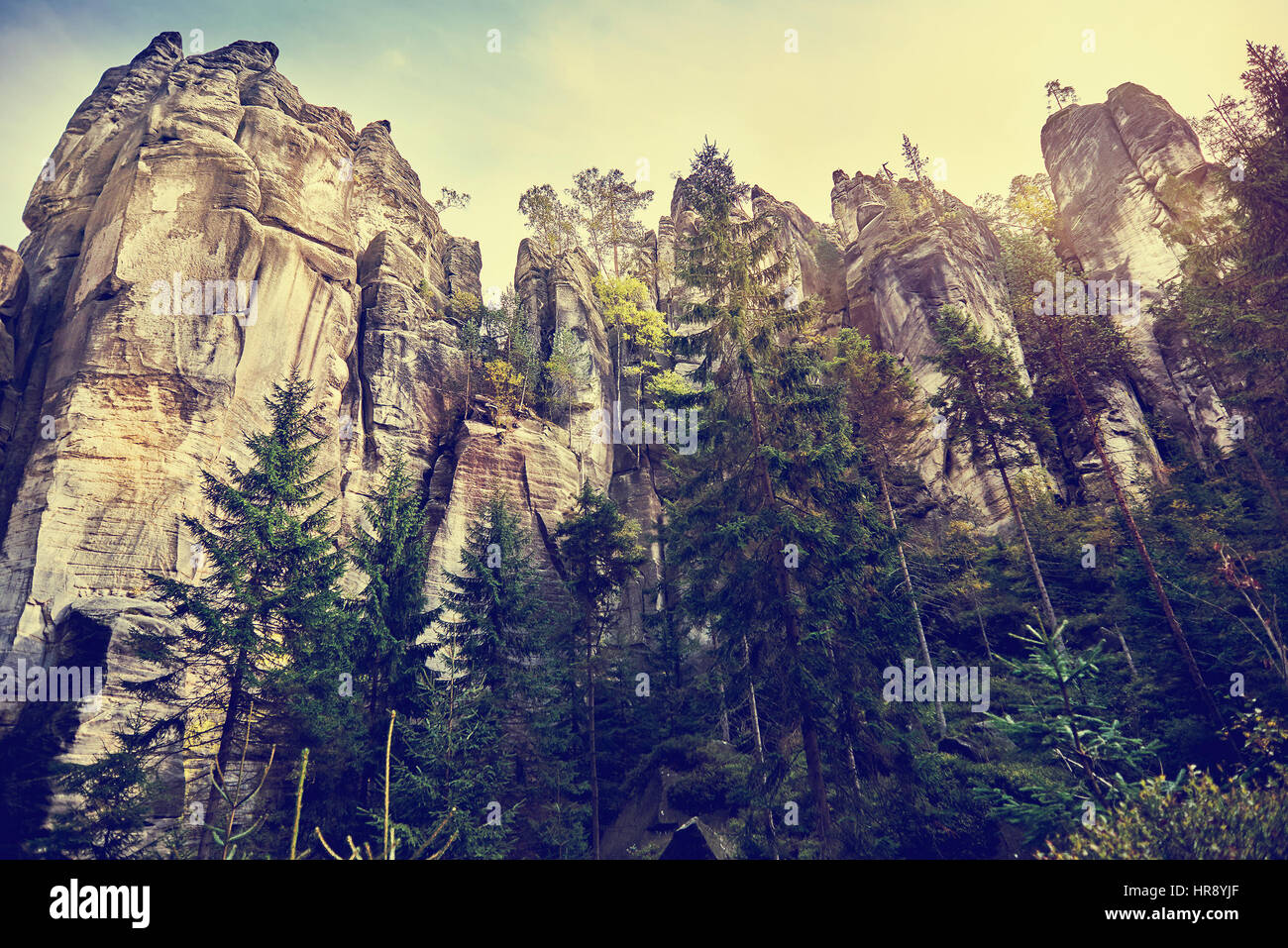 Fantastic view of the andstone Pillars. Teplice-Adrspach Rock Town. Czech Republic. Artistic picture. Beauty world. - Stock Image