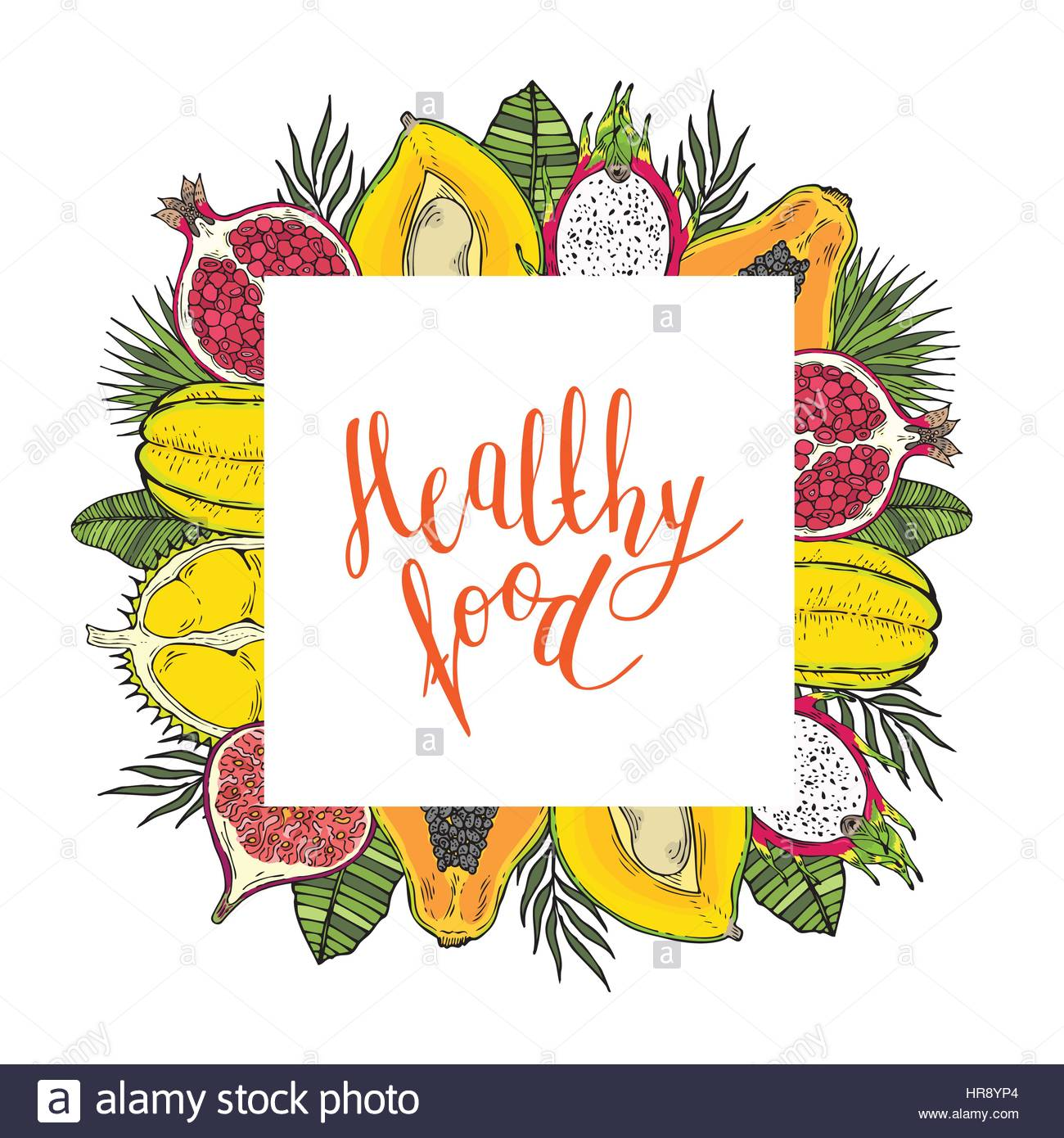 square frame of fruits and tropical leaves with the words healthy